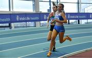 27 January 2019; Ava O'Connor of Tullamore Harriers AC, Co. Offaly, right, on her way winning the Junior Women 800m event ahead of Kate Nurse of Suncroft AC, Co. Kildare, during the Irish Life Health Junior and U23 Indoors at AIT International Arena in Athlone, Co. Westmeath. Photo by Sam Barnes/Sportsfile