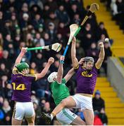 27 January 2019; Jack O'Connor and Conor McDonald of Wexford in action against Tom Condon of Limerick during the Allianz Hurling League Division 1A Round 1 match between Wexford and Limerick at Innovate Wexford Park in Wexford. Photo by Matt Browne/Sportsfile