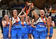 27 January 2019; Maree players Claire Rockall, left, and Carol McCarthy of Maree celebrate with the cup following the Hula Hoops Women's Division One National Cup Final match between Maree and Ulster University Elks at the National Basketball Arena in Tallaght, Dublin. Photo by Eóin Noonan/Sportsfile