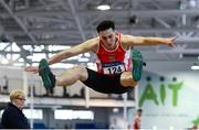 27 January 2019; James Fortune of Enniscorthy AC, Co. Wexford, competing in the U23 Men Long Jump event during the Irish Life Health Junior and U23 Indoors at AIT International Arena in Athlone, Co. Westmeath. Photo by Sam Barnes/Sportsfile
