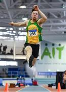 27 January 2019; John Nulty of Annalee AC, Co. Cavan, competing in the U23 Men Long Jump event during the Irish Life Health Junior and U23 Indoors at AIT International Arena in Athlone, Co. Westmeath. Photo by Sam Barnes/Sportsfile