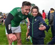 27 January 2019; 11 year old Shauna Quinlivan from Templeglantine, Co Limerick, with Tom Morrissey after the Allianz Hurling League Division 1A Round 1 match between Wexford and Limerick at Innovate Wexford Park in Wexford. Photo by Matt Browne/Sportsfile