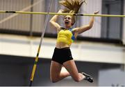 27 January 2019; Clodagh Walsh of Abbey Striders AC, Co.Cork, celebrates a clearance whilst competing in the Junior Women Pole Vault event during the Irish Life Health Junior and U23 Indoors at AIT International Arena in Athlone, Co. Westmeath. Photo by Sam Barnes/Sportsfile
