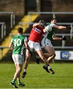 27 January 2019; Cillian O'Hanlon of Cork in action against Eoin Donnelly of Fermanagh during the Allianz Football League Division 2 Round 1 match between Fermanagh and Cork at Brewster Park in Enniskillen, Fermanagh. Photo by Oliver McVeigh/Sportsfile