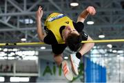 27 January 2019; Ryan Carthy Walshe of Adamstown AC, Co. Wexford, competing in the U23 Men High Jump event during the Irish Life Health Junior and U23 Indoors at AIT International Arena in Athlone, Co. Westmeath. Photo by Sam Barnes/Sportsfile