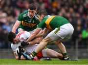 27 January 2019; Rory Brennan of Tyrone in action against Paul Geaney, left, and Stephen O'Brien of Kerry during the Allianz Football League Division 1 Round 1 match between Kerry and Tyrone at Fitzgerald Stadium in Killarney, Kerry. Photo by Stephen McCarthy/Sportsfile