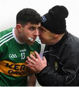 27 January 2019; Kerry manager Peter Keane speaks to substitute Michael Geaney during the Allianz Football League Division 1 Round 1 match between Kerry and Tyrone at Fitzgerald Stadium in Killarney, Kerry. Photo by Stephen McCarthy/Sportsfile