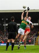27 January 2019; Jack Barry of Kerry and Brian Kennedy of Tyrone contest a throw in from referee David Gough during the Allianz Football League Division 1 Round 1 match between Kerry and Tyrone at Fitzgerald Stadium in Killarney, Kerry. Photo by Stephen McCarthy/Sportsfile