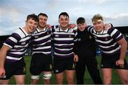 27 January 2019; Terenure players, from left, Josh Keegan, Conor Hayes, Adam Byrne, Oisin Lydon and Sean Daly celebrate following the Bank of Ireland Leinster Schools Senior Cup Round 1 match between St Mary's College and Terenure College at Energia Park in Dublin. Photo by Tom Beary/Sportsfile