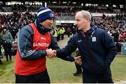 27 January 2019; Laois manager Eddie Brennan shakes hands with Galway manager Micheal Donoghue following the Allianz Hurling League Division 1B Round 1 match between Galway and Laois at Pearse Stadium in Galway. Photo by Ray Ryan/Sportsfile