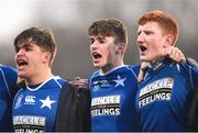 27 January 2019; St Mary's College players, left to right, Elliot Massey, Michael McEvoy, and Joe Nolan, sing their school anthem after the the Bank of Ireland Leinster Schools Senior Cup Round 1 match between St Mary's College and Terenure College at Energia Park in Dublin. Photo by Daire Brennan/Sportsfile