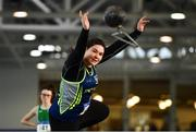 27 January 2019; Ebony Hogan of Birr AC, Co. Offaly, competing in the Junior Women 28lbs Distance event during the Irish Life Health Junior and U23 Indoors at AIT International Arena in Athlone, Co. Westmeath. Photo by Sam Barnes/Sportsfile
