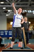 27 January 2019; Emma Kelly of Brow Rangers AC, Co. Kilkenny, competing in the Junior Women 28lbs Distance event during the Irish Life Health Junior and U23 Indoors at AIT International Arena in Athlone, Co. Westmeath. Photo by Sam Barnes/Sportsfile