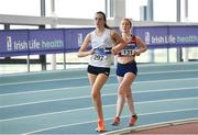 27 January 2019; Niamh O'Connor of Celbridge AC, Co. Kildare, left, on her way to winning the Junior Women 3km Walk event, ahead of Sarah Glennon of Mullingar Harriers AC, Co. Westmeath, during the Irish Life Health Junior and U23 Indoors at AIT International Arena in Athlone, Co. Westmeath. Photo by Sam Barnes/Sportsfile