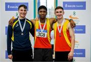27 January 2019; U23 Men 60m medallists, from left, Joe Gibson of Bandon AC, Co. Cork, bronze, Joseph Olalekan Ojemumi of Tallaght AC, Co. Dublin, gold, and Eoin Doherty of Tallaght AC, Co. Dublin, silver, during the Irish Life Health Junior and U23 Indoors at AIT International Arena in Athlone, Co. Westmeath. Photo by Sam Barnes/Sportsfile