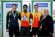 27 January 2019; U23 Men 60m medallists, from left, Joe Gibson of Bandon AC, Co. Cork, bronze, Joseph Olalekan Ojemumi of Tallaght AC, Co. Dublin, gold, and Eoin Doherty of Tallaght AC, Co. Dublin, silver, with Athletics Ireland President Georgina Drumm, during the Irish Life Health Junior and U23 Indoors at AIT International Arena in Athlone, Co. Westmeath. Photo by Sam Barnes/Sportsfile