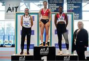 27 January 2019; Junior Women 60m medallists, from left, Lauren Cadden of Sligo AC, Co. Sligo, bronze, Lauren Roy of City of Lisburn A.C., Co. Down, gold, and Patience Jumbo-Gula of Dundalk St. Gerards AC, Co. Louth, silver, with Athletics Ireland President Georgina Drumm during the Irish Life Health Junior and U23 Indoors at AIT International Arena in Athlone, Co. Westmeath. Photo by Sam Barnes/Sportsfile