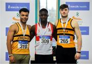 27 January 2019; Junior Men's 60m medallists, from left, Ryan O'Leary of Leevale AC, Co.Cork, bronze, Israel Olatunde of Dundealgan AC, Co. Louth, gold, and Conor Morey of Leevale AC, Co. Cork, silver,  during the Irish Life Health Junior and U23 Indoors at AIT International Arena in Athlone, Co. Westmeath. Photo by Sam Barnes/Sportsfile
