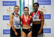 27 January 2019; Junior Women 60m medallists, from left, Lauren Cadden of Sligo AC, Co. Sligo, bronze, Lauren Roy of City of Lisburn A.C., Co. Down, gold, and Patience Jumbo-Gula of Dundalk St. Gerards AC, Co. Louth, silver, during the Irish Life Health Junior and U23 Indoors at AIT International Arena in Athlone, Co. Westmeath. Photo by Sam Barnes/Sportsfile