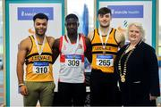27 January 2019; Junior Men's 60m medallists, from left, Ryan O'Leary of Leevale AC, Co.Cork, bronze, Israel Olatunde of Dundealgan AC, Co. Louth, gold, and Conor Morey of Leevale AC, Co. Cork, silver, with Athletics Ireland President Georgina Drumm during the Irish Life Health Junior and U23 Indoors at AIT International Arena in Athlone, Co. Westmeath. Photo by Sam Barnes/Sportsfile