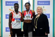 27 January 2019; Junior Men's 60m gold medallist, Israel Olatunde of Dundealgan AC, Co. Louth, Junior Women's 60m silver medallist Patience Jumbo-Gula of Dundalk St. Gerards AC, Co. Louth, and Athletics Ireland President Georgina Drumm during the Irish Life Health Junior and U23 Indoors at AIT International Arena in Athlone, Co. Westmeath. Photo by Sam Barnes/Sportsfile