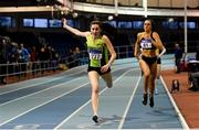 27 January 2019; Deirdre Murray of Na Fianna AC, Co.Meath, on her way to winning the Junior Women 400m event, ahead of Ciara Deely of Kilkenny City Harriers AC, Co. Kilkenny, during the Irish Life Health Junior and U23 Indoors at AIT International Arena in Athlone, Co. Westmeath. Photo by Sam Barnes/Sportsfile