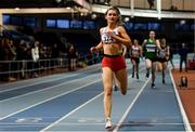 27 January 2019; Nicole Walsh of Galway City Harriers AC, Co. Galway, on her way to winning the U23 Women 400m event during the Irish Life Health Junior and U23 Indoors at AIT International Arena in Athlone, Co. Westmeath. Photo by Sam Barnes/Sportsfile