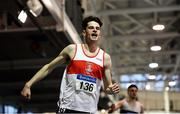 27 January 2019; Cillin Greene of Galway City Harriers AC, Co. Galway, after winning the U23 Men 200m event during the Irish Life Health Junior and U23 Indoors at AIT International Arena in Athlone, Co. Westmeath. Photo by Sam Barnes/Sportsfile