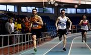 27 January 2019; Conor Morey of Leevale AC, Co. Cork, on his way to winning the Junior Men 200m event , John Grant of Celbridge AC, Co. Kildare, ahead of during the Irish Life Health Junior and U23 Indoors at AIT International Arena in Athlone, Co. Westmeath. Photo by Sam Barnes/Sportsfile
