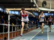 27 January 2019; Cillin Greene of Galway City Harriers AC, Co. Galway, on his way to winning the U23 Men 200m event during the Irish Life Health Junior and U23 Indoors at AIT International Arena in Athlone, Co. Westmeath. Photo by Sam Barnes/Sportsfile