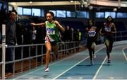 27 January 2019; Davicia Patterson of Beechmount Harriers, Co Antrim, on her way to winning the Junior Women 200m event during the Irish Life Health Junior and U23 Indoors at AIT International Arena in Athlone, Co. Westmeath. Photo by Sam Barnes/Sportsfile