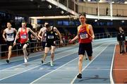 27 January 2019; Christopher Duffy of Tallaght A.C., Co.Dublin, celebrates winning the Junior Men 400m event during the Irish Life Health Junior and U23 Indoors at AIT International Arena in Athlone, Co. Westmeath. Photo by Sam Barnes/Sportsfile
