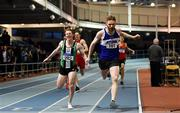 27 January 2019; Shane Irwin of Finn Valley AC, Co. Donegal, right, on his way to winning the U23 Men 400m event, ahead of Craig Newell of Ballymena & Antrim AC, Co. Antrim, during the Irish Life Health Junior and U23 Indoors at AIT International Arena in Athlone, Co. Westmeath. Photo by Sam Barnes/Sportsfile