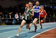 27 January 2019; Craig Newell of Ballymena & Antrim AC, Co. Antrim, competing in the U23 Men 400m event during the Irish Life Health Junior and U23 Indoors at AIT International Arena in Athlone, Co. Westmeath. Photo by Sam Barnes/Sportsfile