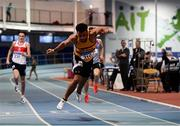 27 January 2019; Ryan O'Leary of Leevale AC, Co. Cork, competing in the Junior Men 200m during the Irish Life Health Junior and U23 Indoors at AIT International Arena in Athlone, Co. Westmeath. Photo by Sam Barnes/Sportsfile