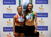27 January 2019; U23 Women 60m medallists, Sarah Quinn of St. Colmans South Mayo AC, Co. Mayo, bronze, and Sophie Becker of St. Joseph's AC, Co. Kilkenny, gold, during the Irish Life Health Junior and U23 Indoors at AIT International Arena in Athlone, Co. Westmeath. Photo by Sam Barnes/Sportsfile