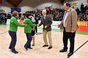 27 January 2019; Team Ireland Special Olympics Basketball teams are honoured during half-time in the Hula Hoops Women's Division One National Cup Final match between Courtyard Liffey Celtics and Singleton SuperValu Brunell at the National Basketball Arena in Tallaght, Dublin. Photo by Brendan Moran/Sportsfile