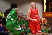 27 January 2019; Danielle O'Leary of Singleton SuperValu Brunell in action against Briana Green of Courtyard Liffey Celtics during the Hula Hoops Women's Division One National Cup Final match between Courtyard Liffey Celtics and Singleton SuperValu Brunell at the National Basketball Arena in Tallaght, Dublin. Photo by Brendan Moran/Sportsfile