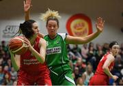 27 January 2019; Linda Rubene of Singleton SuperValu Brunell in action against Ailbhe O'Connor of Courtyard Liffey Celtics during the Hula Hoops Women's Division One National Cup Final match between Courtyard Liffey Celtics and Singleton SuperValu Brunell at the National Basketball Arena in Tallaght, Dublin. Photo by Eóin Noonan/Sportsfile