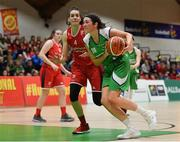 27 January 2019; Áine O'Connor of Courtyard Liffey Celtics in action against Linda Rubene of Singleton SuperValu Brunell during the Hula Hoops Women's Division One National Cup Final match between Courtyard Liffey Celtics and Singleton SuperValu Brunell at the National Basketball Arena in Tallaght, Dublin. Photo by Eóin Noonan/Sportsfile