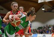 27 January 2019; Karen Mealey of Courtyard Liffey Celtics in action against Simone O'Shea of Singleton SuperValu Brunell during the Hula Hoops Women's Division One National Cup Final match between Courtyard Liffey Celtics and Singleton SuperValu Brunell at the National Basketball Arena in Tallaght, Dublin. Photo by Eóin Noonan/Sportsfile