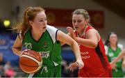 27 January 2019; Sorcha Tiernan of Courtyard Liffey Celtics in action against Simone O'Shea of Singleton SuperValu Brunell during the Hula Hoops Women's Division One National Cup Final match between Courtyard Liffey Celtics and Singleton SuperValu Brunell at the National Basketball Arena in Tallaght, Dublin. Photo by Eóin Noonan/Sportsfile