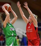 27 January 2019; Karen Mealey of Courtyard Liffey Celtics in action against Madelyn Ganser of Singleton SuperValu Brunell during the Hula Hoops Women's Division One National Cup Final match between Courtyard Liffey Celtics and Singleton SuperValu Brunell at the National Basketball Arena in Tallaght, Dublin. Photo by Eóin Noonan/Sportsfile