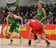 27 January 2019; Allie LeClaire of Courtyard Liffey Celtics in action against Tricia Byrne of Singleton SuperValu Brunell during the Hula Hoops Women's Paudie O'Connor National Cup Final match between Courtyard Liffey Celtics and Singleton SuperValu Brunell at the National Basketball Arena in Tallaght, Dublin. Photo by Eóin Noonan/Sportsfile
