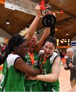 27 January 2019; Courtyard Liffey Celtics captain Ailbhe O'Connor, centre, and her team-mates Briana Green, left, and Megan Howe celebrate with the cup after the Hula Hoops Women's Paudie O'Connor National Cup Final match between Courtyard Liffey Celtics and Singleton SuperValu Brunell at the National Basketball Arena in Tallaght, Dublin. Photo by Brendan Moran/Sportsfile