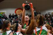 27 January 2019; Ailbhe O'Connor of Courtyard Liffey Celtics lifting the cup among her team-mates following the Hula Hoops Women's Paudie O'Connor National Cup Final match between Courtyard Liffey Celtics and Singleton SuperValu Brunell at the National Basketball Arena in Tallaght, Dublin. Photo by Eóin Noonan/Sportsfile