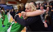 27 January 2019; Allie LeClaire of Courtyard Liffey Celtics celebrates with her mother Sandie Selissen, who flew in from Green Bay, Wisconsin, USA, after the Hula Hoops Women's Paudie O'Connor National Cup Final match between Courtyard Liffey Celtics and Singleton SuperValu Brunell at the National Basketball Arena in Tallaght, Dublin. Photo by Brendan Moran/Sportsfile