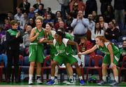 27 January 2019; Liffey Celtic players wait to rush frrom the bench to celebrate with their team-mates after the game at the Hula Hoops Women's Paudie O'Connor National Cup Final match between Courtyard Liffey Celtics and Singleton SuperValu Brunell at the National Basketball Arena in Tallaght, Dublin. Photo by Eóin Noonan/Sportsfile