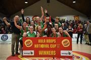 27 January 2019; Courtyard Liffey Celtics players celebrate with the cup following the Hula Hoops Women's Paudie O'Connor National Cup Final match between Courtyard Liffey Celtics and Singleton SuperValu Brunell at the National Basketball Arena in Tallaght, Dublin. Photo by Eóin Noonan/Sportsfile