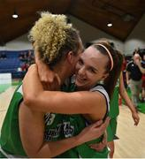27 January 2019; Shauna Homan of Courtyard Liffey Celtics celebrates with team-mate Ailbhe O'Connor following the Hula Hoops Women's Paudie O'Connor National Cup Final match between Courtyard Liffey Celtics and Singleton SuperValu Brunell at the National Basketball Arena in Tallaght, Dublin. Photo by Eóin Noonan/Sportsfile
